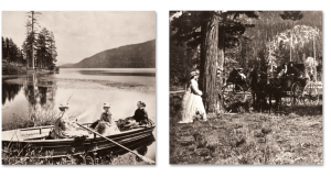 Two black and white images circa the 1800s are shown side-by-side. The left image shows three white women in a row boat. Two sit facing the bough, the third sits facing the stern with oars in hand. The right image shows two horse-drawn carriages parked in a wooded area. A white man and woman sit in one carriage. A white woman in a white dress stands off to the side facing their carriage.